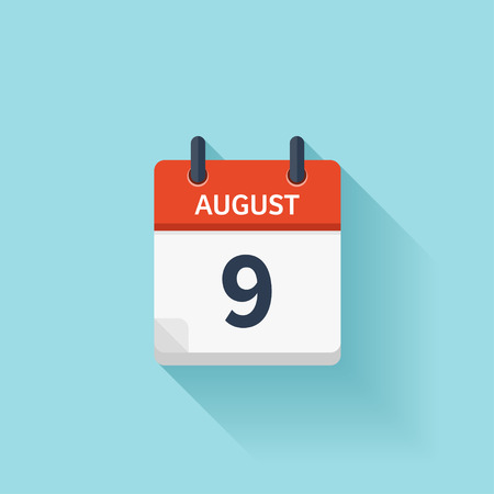 time of the day: August 9. Vector flat daily calendar icon. Date and time, day, month. Holiday.