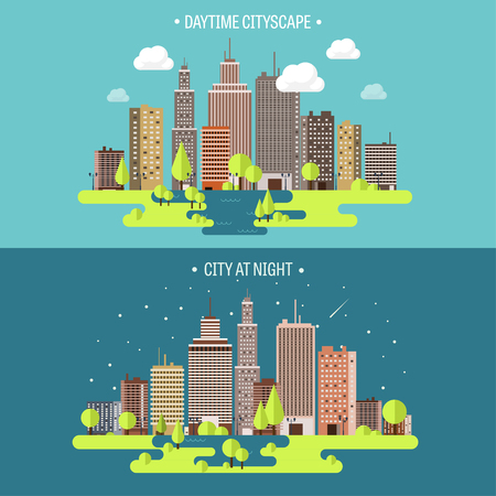 midtown: Vector illustration. Spring, summer.a City silhouettes. Cityscape. Town skyline. Panorama. Midtown houses. Summer.