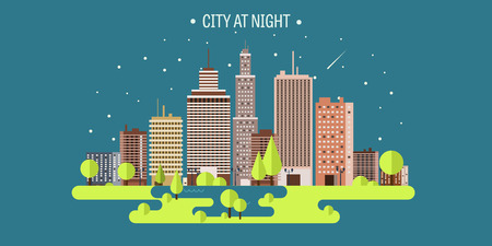 panorama city: Vector illustration. Spring, summer.a City silhouettes. Cityscape. Town skyline. Panorama. Midtown houses. Summer.