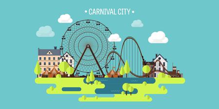 Vector illustration.Spring, zomer. Reuzenrad. Carnaval. Kermis achtergrond. Circus park. Wolkenkrabbers met achtbaan. Vector Illustratie