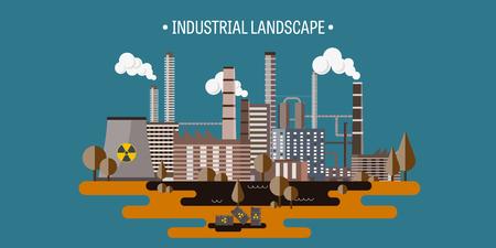 urbanization: Vector illustration. Urbanization. Industrial revolution. Pipe. Air pollution. Oil and gas, fuel.  EPS10 format. Illustration