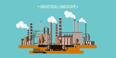 Ilustración del vector. Urbanización. Revolución industrial. Tubo. La contaminación del aire. Petróleo y gas, combustible. EPS10 formato.