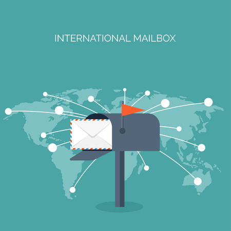 spam: Vector illustration. Flat background with envelope. Emailing concept background. Spam , sms writing.Lettering. New message.