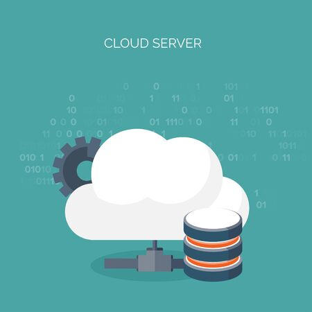 multimedia: Vector illustration. Flat cloud computing background. Data storage network technology. Multimedia content , web sites hosting. Memory, information transfer.
