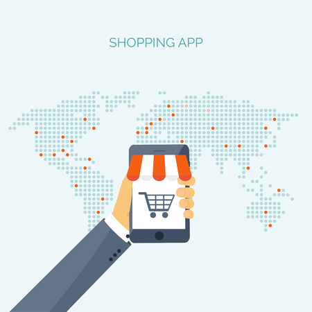ebusiness: Vector illustration. Flat header. Shopping. Web store. Global communication, trading. E-business. Commerce, money making. Internet banking.