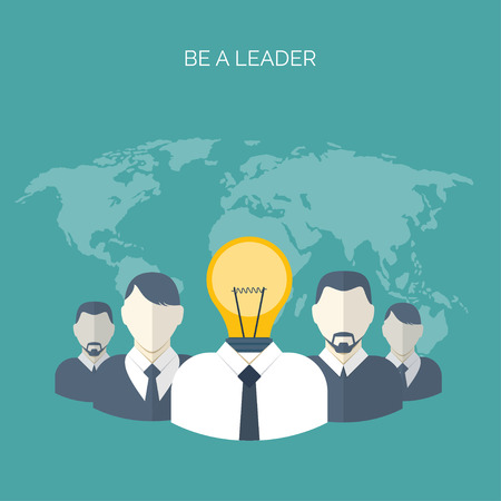 generating: Flat vector illustration. Be a leader. Ideas generating. Creativity and teamwork.