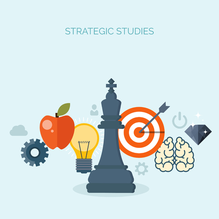 smart solutions: Vector illustration. Chess. Management, achievements. Smart solutions, business aims. Generating ideas. Planning, strategy Illustration