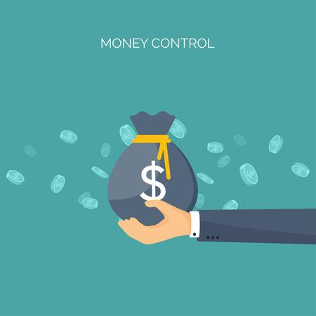 Ilustración del vector. de fondo plano con, bolsa de dinero. Haciendo dinero. Deposito bancario. Valores financieros. Ilustración de vector