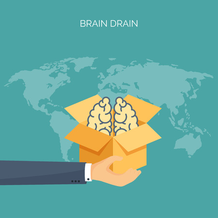 drain: Brains, academic cap. Brain drain. Study, creative process. Power of knowledge.
