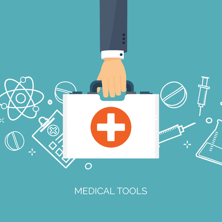 chemical engineering: Vector illustration. Flat medical background. Health care ,first aid, research ,cardiology. Medicine ,study. Chemical engineering ,pharmacy.
