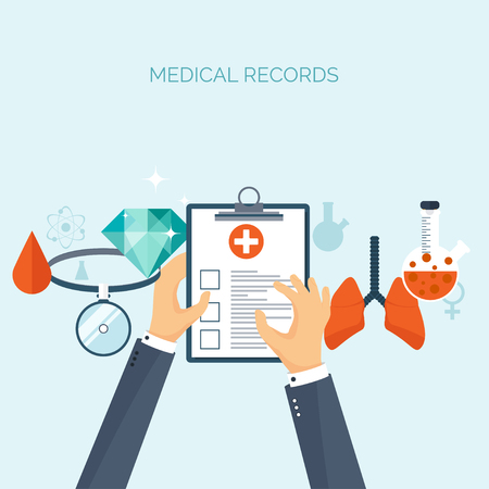 medical study: Vector illustration. Flat medical background. Health care ,first aid, research ,cardiology. Medicine ,study. Chemical engineering ,pharmacy.