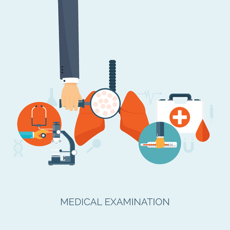 medical study: Vector illustration.  Hand with lungs.Flat medical background. Health care ,first aid, research ,cardiology. Medicine ,study. Chemical engineering ,pharmacy.