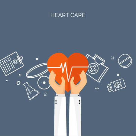 chemical engineering: Vector illustration. Hands with heart. Flat medical background. Health care ,first aid, research ,cardiology. Medicine ,study. Chemical engineering ,pharmacy.