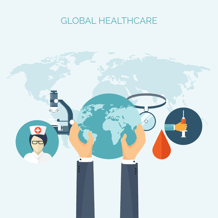 Vector illustration. Hands with earth globe.  Flat medical background. Health care ,first aid, research ,cardiology. Medicine ,study. Chemical engineering ,pharmacy.