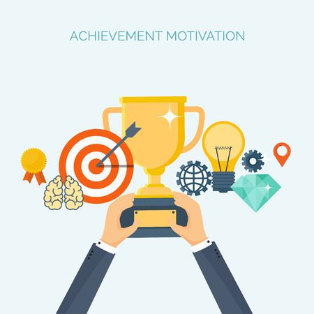 generating: Vector illustration. Flat header.  Target, trophy. Management, achievements. Smart solutions, business aims. Generating ideas. Business planning, strategy Illustration