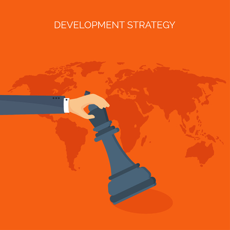 smart solutions: Vector illustration. Flat header. Chess. Management, achievements. Smart solutions, business aims. Generating ideas. Business planning, strategy