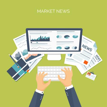 Vektor-Illustration. Flachkopf. Online Marktnachrichten. Newsletter und Informationen. Geschäfts- und Marktnachrichten. Finanzbericht. Standard-Bild - 54046654