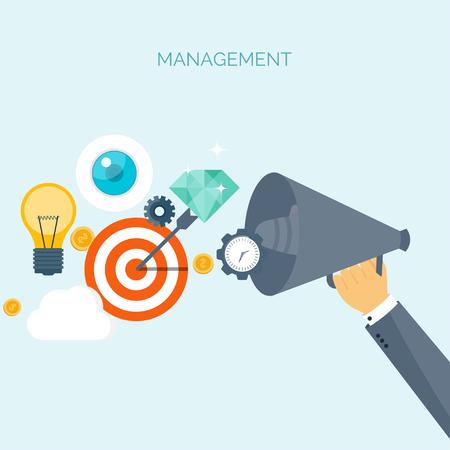 Vector illustration. Loudspeaker. Flat header. Target, bulb. Management, achievements. Smart solutions, business aims. Generating ideas. Business planning, strategy Illustration