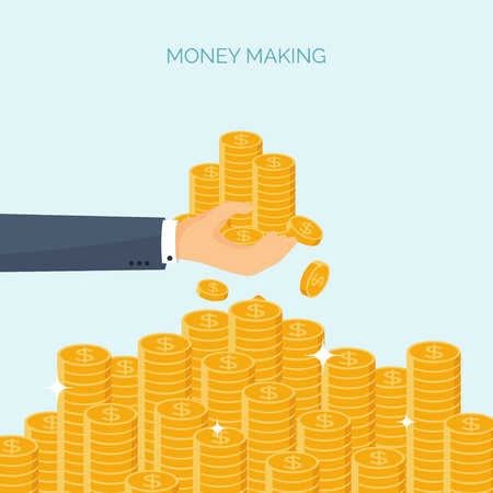 money making: Vector illustration. Flat header. Money, money making. Web payments. World currency. Internet store, shopping. Pay per click. Business. Illustration