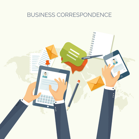 send: Vector illustration. Flat header.  Business communication, correspondence. Social network. Illustration