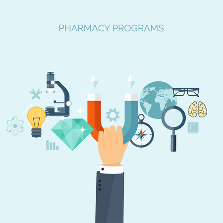 chemical engineering: Vector illustration. Flat medical header. Health care, first aid, research, cardiology. Medicine, study. Chemical engineering, pharmacy. Illustration