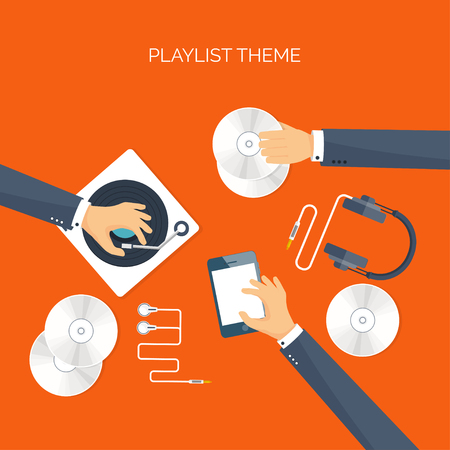 hi fi: Vector illustration. Flat background. Music.production. Show business. Mp3, compact disk. Voice recording. Singind, karaoke. Audio store.