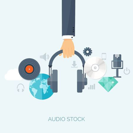 show business: Vector illustration. Flat background. Music.production. Show business. Mp3, compact disk. Voice recording. Singind, karaoke. Audio store.