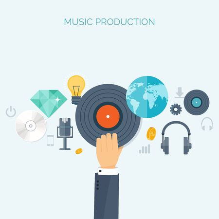 compact disk: Vector illustration. Flat background. Music.production. Show business. Mp3, compact disk. Voice recording. Singind, karaoke. Audio store.