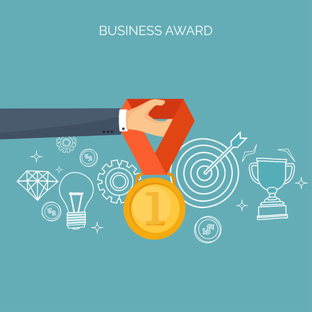 rewarding: Vector illustration. Flat business concept background. Achievements, mission. Aims, new ideas. Smart solutions.  First place. Medal.