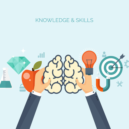 cognitive: Vector illustration. Brains. Flat backgrounds set. Distance education,learning. Online courses, web school. Knowledge,information. Study process. E-learning. Illustration