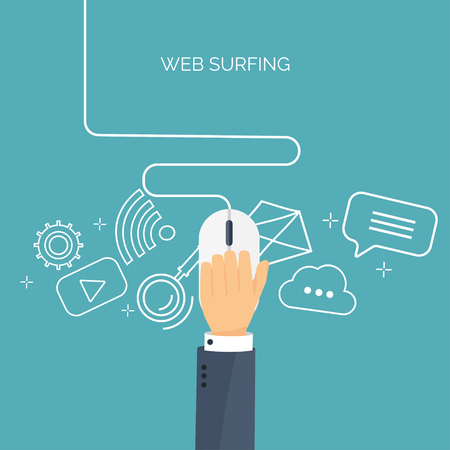 web surfing: Vector illustration. Web surfing. Internet. Mouse. Chatting, social network. Illustration