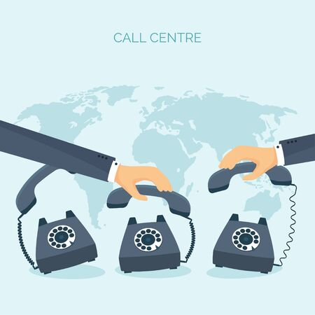 call centre: Vector illustration. Flat communication background. Social network. Chatting. Call centre. Telephone