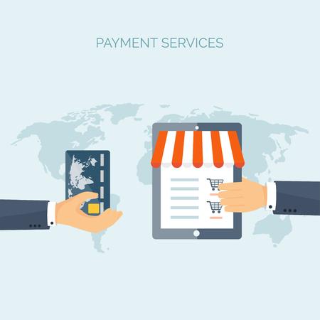 commerce communication: Vector illustration. Flat header. Shopping. Web store. Global communication, trading. E-business. Commerce, money making. Internet banking.