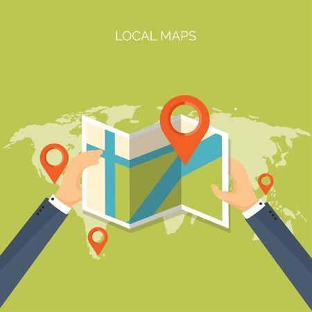Vector illustration. Flat background. Navigation,traveling.  Map pointer,location finding. Web application.