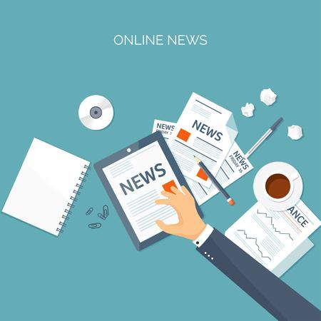 online business: Vector illustration. Flat header. Online news. Newsletter,information. Business, market information. Financial report.