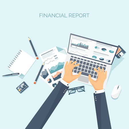 online news: Vector illustration. Flat header. Online news. Newsletter, information. Business, market. Financial report.