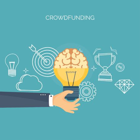 new ideas: Vector illustration. Flat backgrounds set. New ideas, smart solutions. Business aims. Teamwork. Targeting.