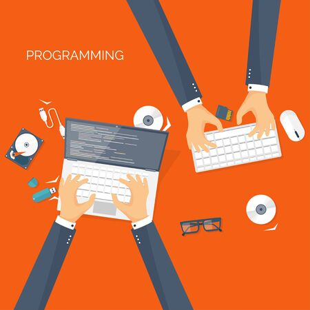 programming code: Vector illustration. Flat background. Coding, programming. SEO. Search engine optimization. App development, creation. Software, program code. Web design.