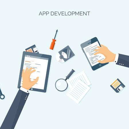 web courses: Vector illustration. Flat header. Programming, coding online. Web courses. Internet, web design. App development.