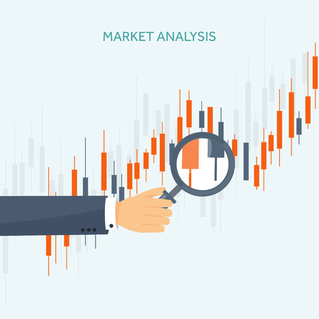 Vector illustration. Flat background. Market trade. Trading platform,account. Moneymaking,business. Analysis. Investing. EPS10 format. Vectores