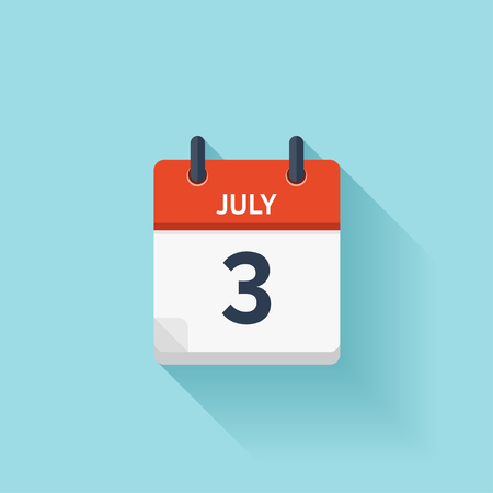 3 month: July 3 . Vector flat daily calendar icon. Date and time, day, month. Holiday. Illustration
