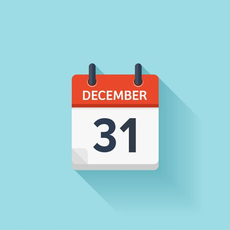 time of the day: December  31. Vector flat daily calendar icon. Date and time, day, month. Holiday. Illustration