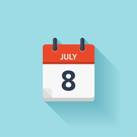 time of the day: July 8 . Vector flat daily calendar icon. Date and time, day, month. Holiday.
