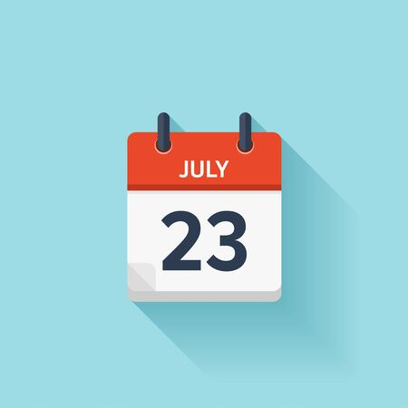 time of day: July  23. Vector flat daily calendar icon. Date and time, day, month. Holiday.