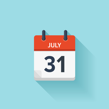 31: July  31. Vector flat daily calendar icon. Date and time, day, month. Holiday.