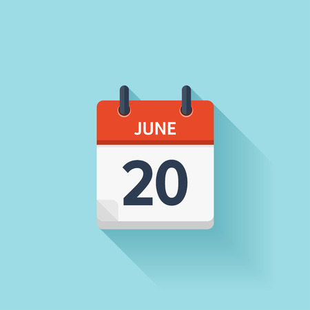 20 juin. Vecteur plat calendrier icône quotidienne. Date et heure, jour, mois. Vacances. Banque d'images - 54047988