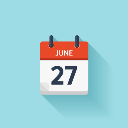 time of day: June 27 . Vector flat daily calendar icon. Date and time, day, month. Holiday.