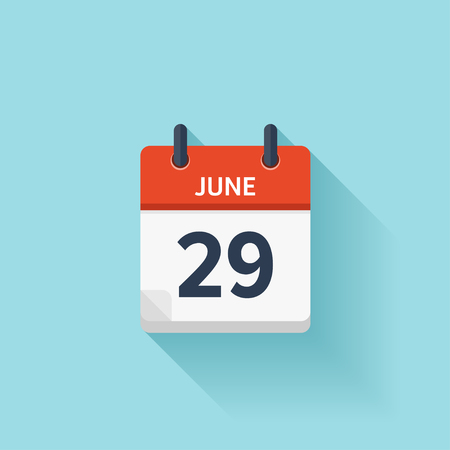 29: June  29. Vector flat daily calendar icon. Date and time, day, month. Holiday.