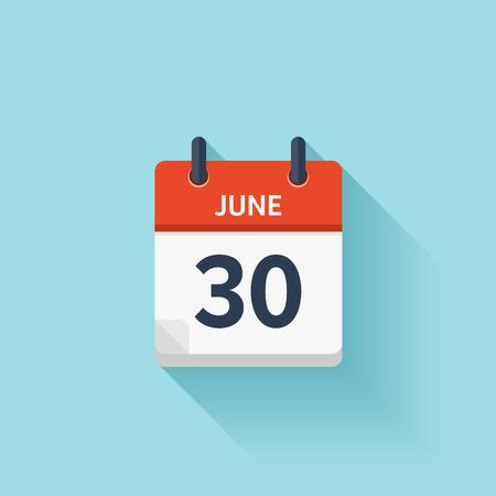 kalendarium: 30 czerwca. Wektor płaską dzienny ikonę kalendarza. Data i godzina, dzień, miesiąc. Wakacje. Ilustracja