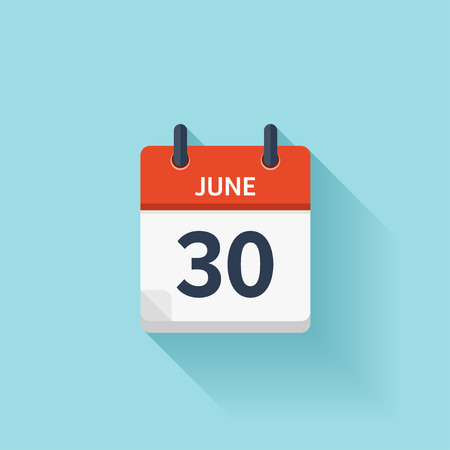 calendar day: June 30 . Vector flat daily calendar icon. Date and time, day, month. Holiday.